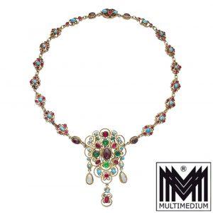 Historismus Siebenbürgen Silbercollier Granat Türkis Halskette Tracht