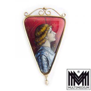 Jeanne D`Arc Emaille Anhänger Jugendstil Gold