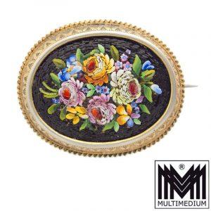-VERKAUFT- Mikromosaik Brosche mit Blumen um 1850