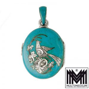 VERKAUFT - Historismus Silber Emaille Medaillon Perle