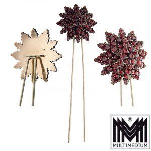 Historismus Steckkamm Granat Stern Blume Tombak um 1860 Antik comb