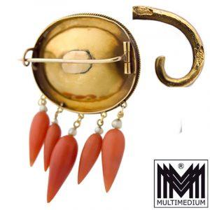 Antike Biedermeier 750 18K Gold Brosche Koralle antique coral brooch