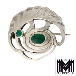 Jugendstil Brosche A. Odenwald Pforzheim Silber signiert silver brooch