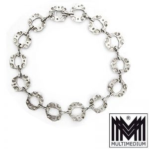 Designer Silber Halskette Handarbeit 60er signiert