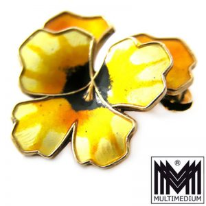 DAVID ANDERSEN Brosche Emaille Silber signiert selten Enamel led Pansy Brooch