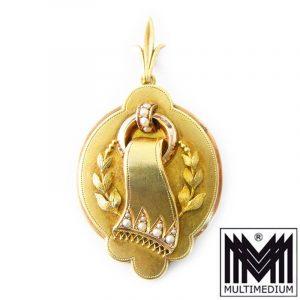Biedermeier Brosche 14ct Gold mit Flußperlchen