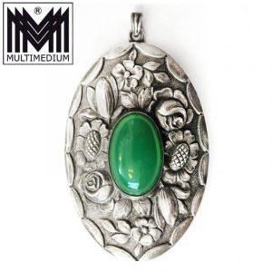 Jugendstil Silber Anhänger grüner Achat
