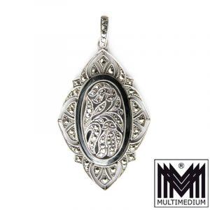 Silber Anhänger Emaille Art Deco Markasit silver enamel pendant Fahrner Ära 20er