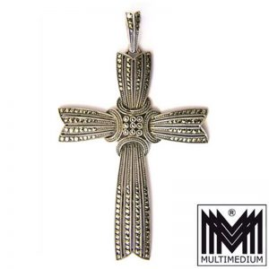 Prachtvolles Theodor Fahrner Art Deco Silber Kreuz Anhänger Markasit e silver