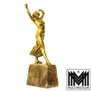 Franz Peleschka Jugendstil Bronze Figur Tanzende mit Kastagnetten