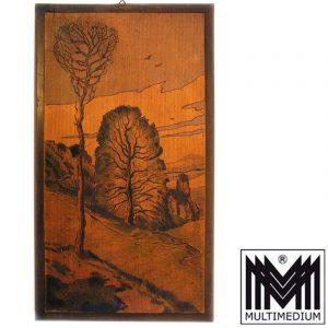 -VERKAUFT- Zwei Wandbilder Holz Landschaften Brandmalerei