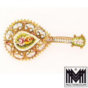 Millefiori Brosche in Form einer Mandoline