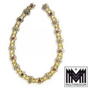 Historismus Neorenaissance Silber Halskette