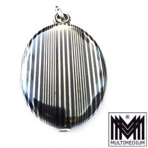 Großer Martin Mayer Tula Silber Medaillon Anhänger niello silver locket pendant