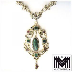 Jugendstil Collier Silber vergoldet um 1890