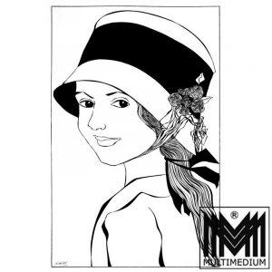 Mädchen mit Hut im Blick zurück - © by Gisela Geser