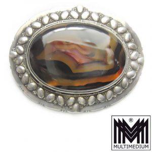Prachtvolle große antike Jugendstil Silber Brosche Karl Johann Bauer München art nouveau silver brooch